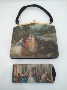 Antique silk pastoral purse